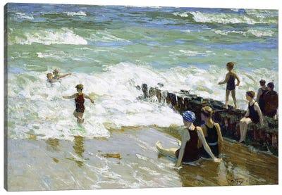 Bathers at Breakwater,  Canvas Art Print