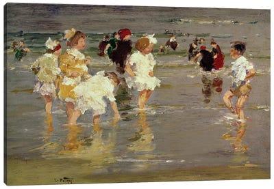 Children on the Beach Canvas Art Print