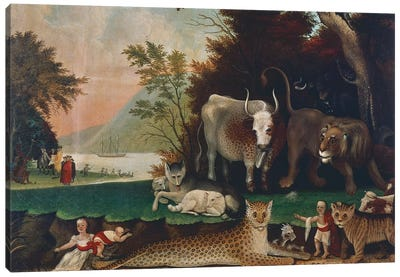 Peaceable Kingdom, c. 1848 Canvas Art Print