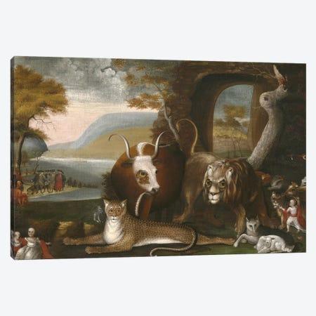 The Peaceable Kingdom and Penn's Treaty, 1845  Canvas Print #BMN10099} by Edward Hicks Canvas Wall Art