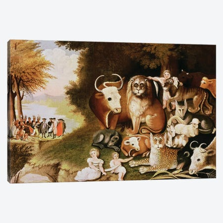The Peaceable Kingdom, 1832-34  Canvas Print #BMN10101} by Edward Hicks Canvas Wall Art