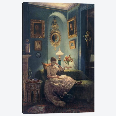 An Evening at Home, 1888  Canvas Print #BMN10106} by Edward John Poynter Canvas Art Print