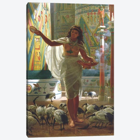 Feeding the Sacred Ibis in the Halls of Karnac  Canvas Print #BMN10110} by Edward John Poynter Canvas Art Print