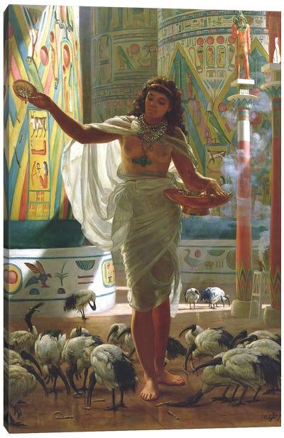 Feeding the Sacred Ibis in the Halls of Karnac  Canvas Art Print