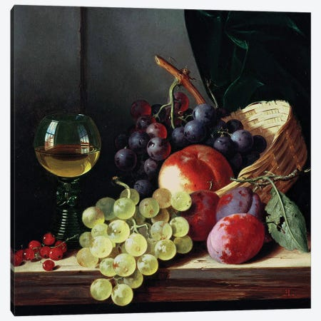 Grapes and plums  Canvas Print #BMN10114} by Edward Ladell Canvas Artwork