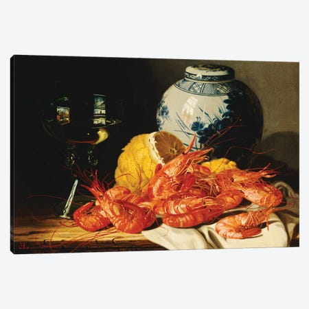 Shrimps, a peeled lemon, a glass of wine and a blue and white ginger jar on a draped table  Canvas Print #BMN10115} by Edward Ladell Canvas Wall Art