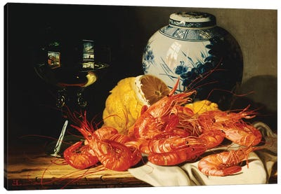 Shrimps, a peeled lemon, a glass of wine and a blue and white ginger jar on a draped table  Canvas Art Print