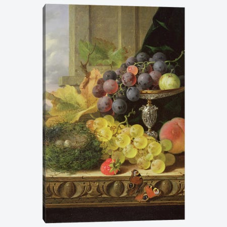 Still life of fruit, a tazza and a bird's nest Canvas Print #BMN10116} by Edward Ladell Canvas Art