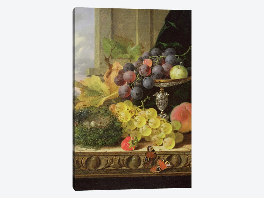 Still life of fruit, a tazza and a bird's nest by Edward Ladell 1-piece Canvas Artwork