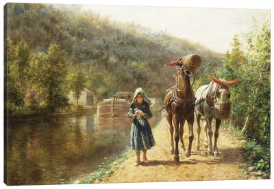 On the Towpath,  Canvas Art Print