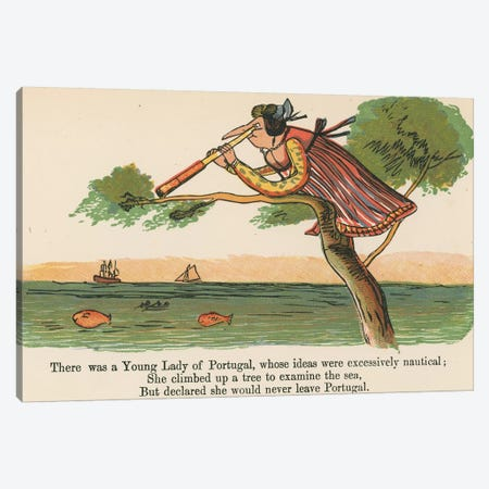 """""""There was a Young Lady of Portugal, whose ideas were excessively nautical"""", c.1875  Canvas Print #BMN10120} by Edward Lear Canvas Wall Art"""