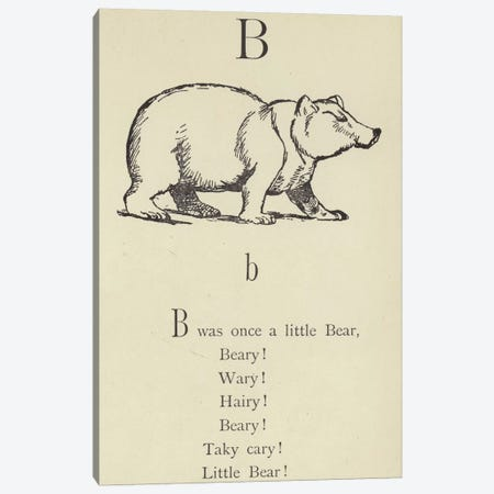 The letter B  Canvas Print #BMN10130} by Edward Lear Art Print