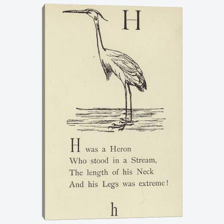 The letter H  Canvas Print #BMN10135} by Edward Lear Canvas Artwork