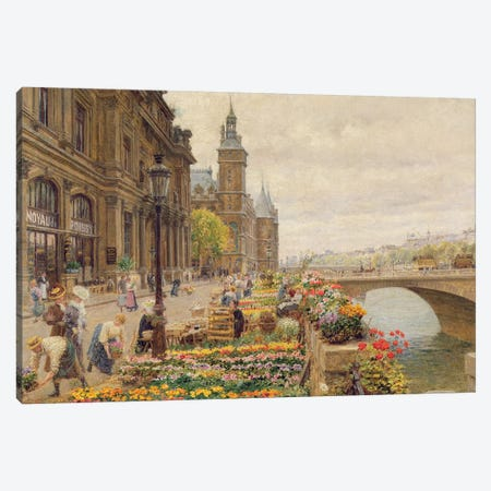 The Parisian Flower Market Canvas Print #BMN1013} by Marie Francois Firmin-Girard Canvas Art Print