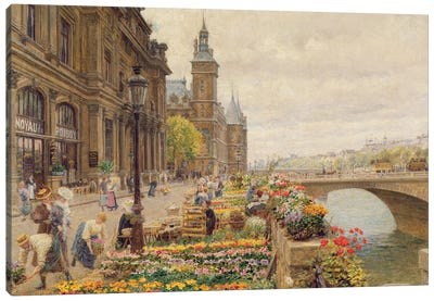 The Parisian Flower Market Canvas Art Print