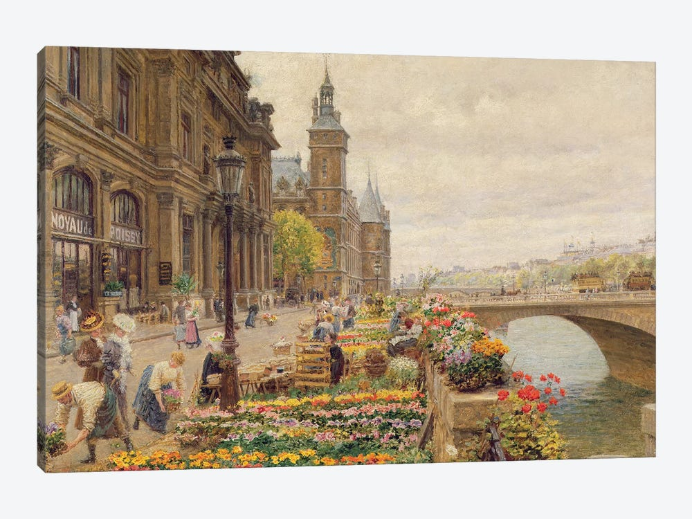 The Parisian Flower Market by Marie Francois Firmin-Girard 1-piece Canvas Print