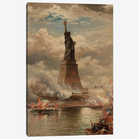 The Unveiling of the Statue of Liberty, Enlightening the World, 1886  Canvas Print #BMN10145} by Edward Moran Art Print
