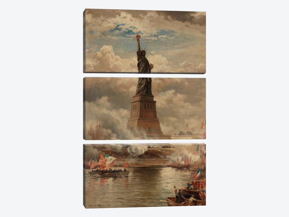 The Unveiling of the Statue of Liberty, Enlightening the World, 1886  by Edward Moran 3-piece Canvas Wall Art