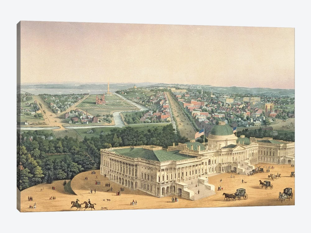View of Washington, pub. by E. Sachse & Co., 1852  by Edward Sachse 1-piece Canvas Print