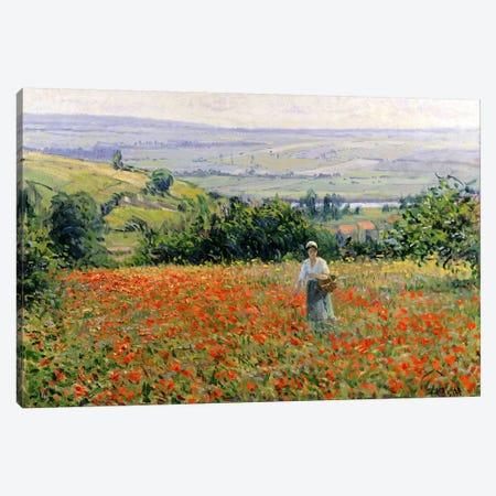 Woman in a Poppy Field  Canvas Print #BMN1014} by Leon Giran-Max Canvas Wall Art