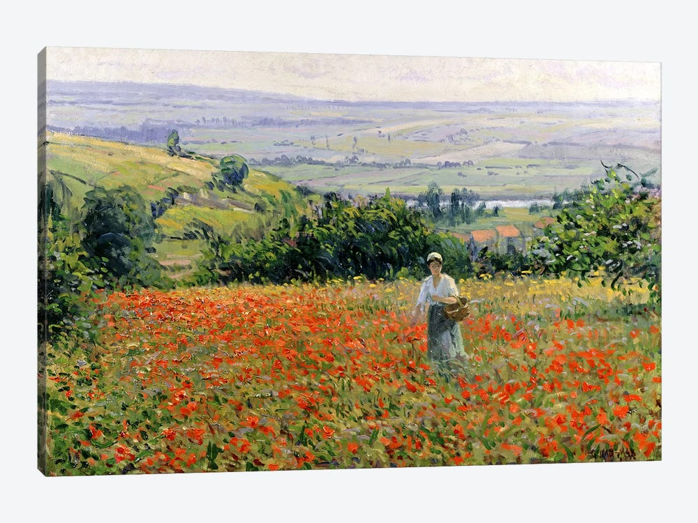 Woman in a Poppy Field  by Leon Giran-Max 1-piece Canvas Art