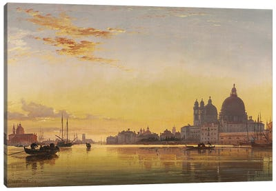 Sunset on the Lagoon of Venice, Church of Isola di San Giorgio in Alga in the Distance,  Canvas Art Print