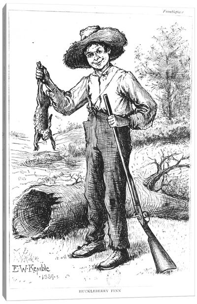 Frontispiece to 'The Adventures of Huckleberry Finn', by Mark Twain  1884   Canvas Art Print