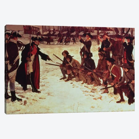 Baron von Steuben drilling American recruits at Valley Forge in 1778, 1911  Canvas Print #BMN10153} by Edwin Austin Abbey Art Print