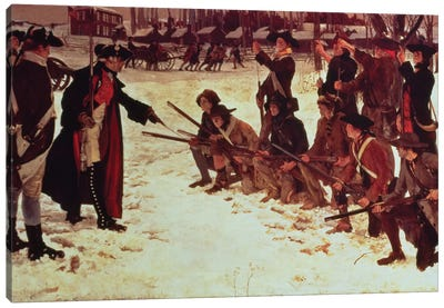 Baron von Steuben drilling American recruits at Valley Forge in 1778, 1911  Canvas Art Print