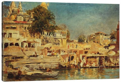 View of the Ghats at Benares, 1873  Canvas Art Print