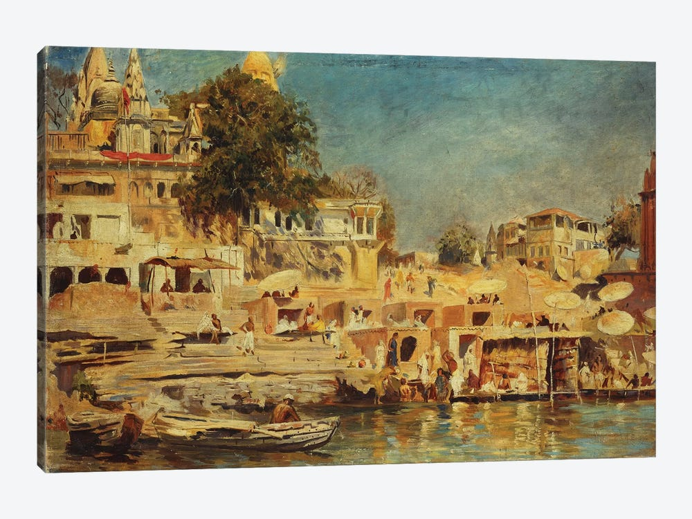 View of the Ghats at Benares, 1873  by Edwin Lord Weeks 1-piece Canvas Art Print
