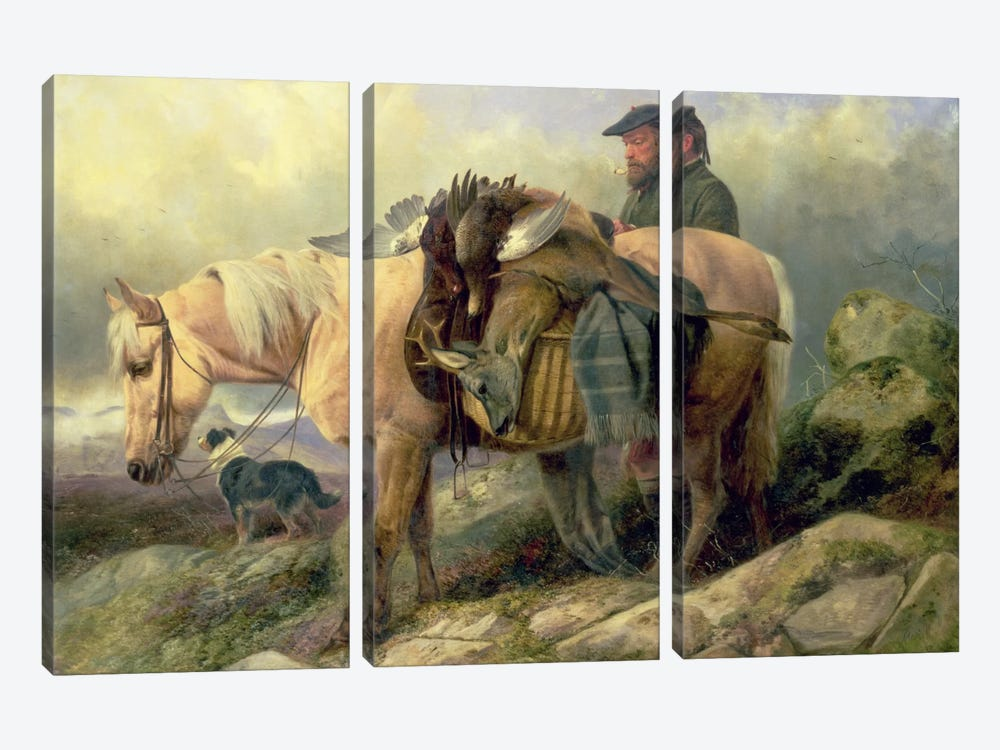 Returning from the Hill, 1868 by Richard Ansdell 3-piece Art Print