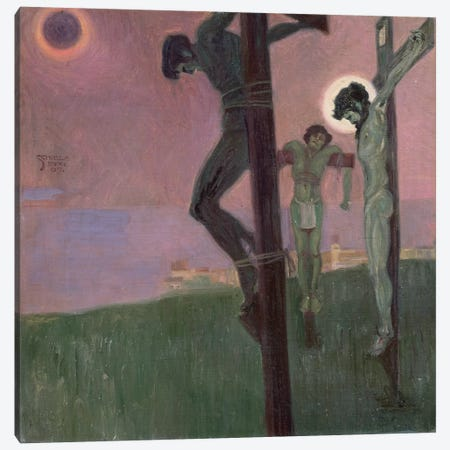 Crucifixion with darkened sun Canvas Print #BMN10165} by Egon Schiele Canvas Print
