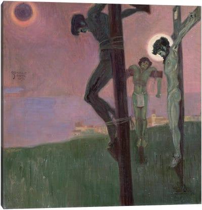 Crucifixion with darkened sun Canvas Art Print