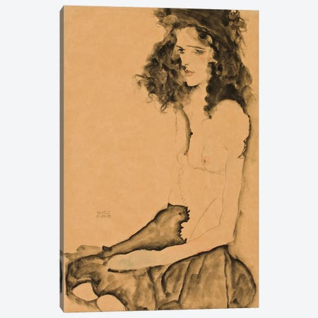 Girl with Black Hair, 1911  Canvas Print #BMN10169} by Egon Schiele Canvas Art