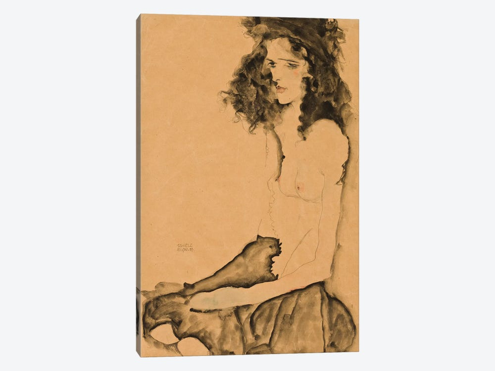 Girl with Black Hair, 1911  by Egon Schiele 1-piece Canvas Artwork