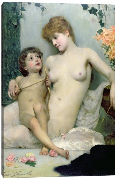 Love's First Lesson, 1885 Canvas Art Print
