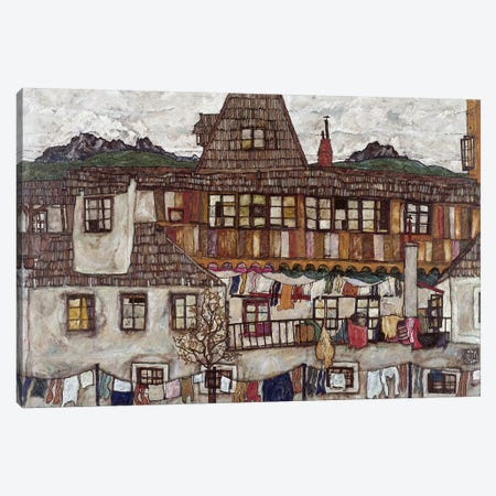 Houses with clothes drying, 1917  Canvas Print #BMN10171} by Egon Schiele Canvas Print