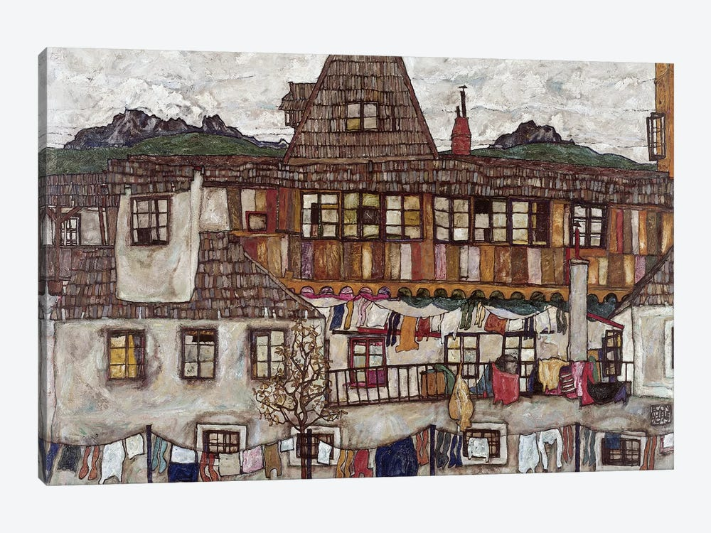 Houses with clothes drying, 1917  by Egon Schiele 1-piece Art Print