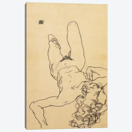 Kneeling female nude, 1917  Canvas Print #BMN10172} by Egon Schiele Art Print