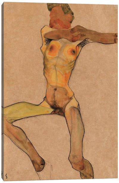 Male nude, yellow, 1910  Canvas Art Print