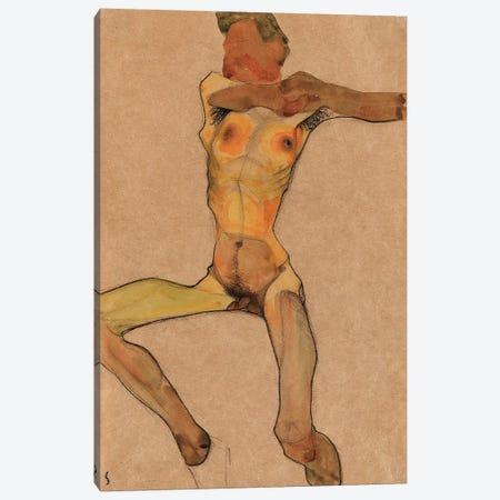 Male nude, yellow, 1910  Canvas Print #BMN10175} by Egon Schiele Canvas Artwork