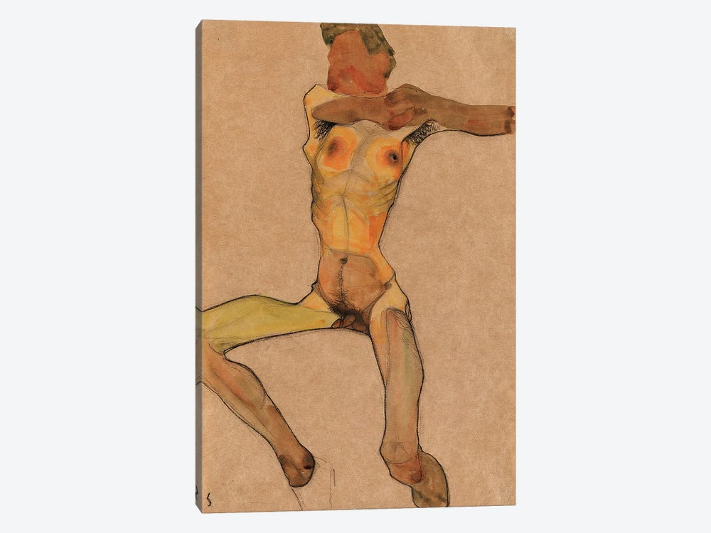 Male nude, yellow, 1910  by Egon Schiele 1-piece Canvas Print