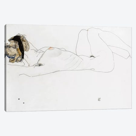 Reclining female nude, 1912  Canvas Print #BMN10179} by Egon Schiele Art Print
