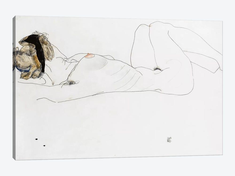 Reclining female nude, 1912  by Egon Schiele 1-piece Canvas Print