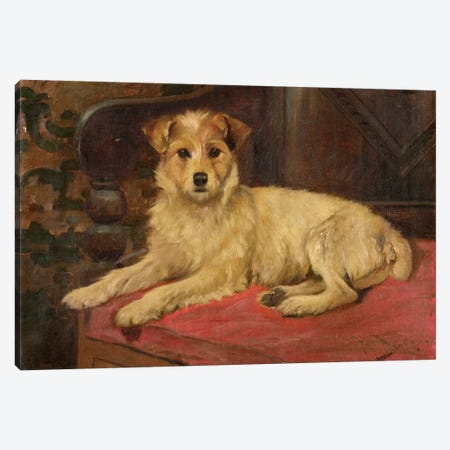 A Terrier on a Settee Canvas Print #BMN1017} by Wright Barker Canvas Art
