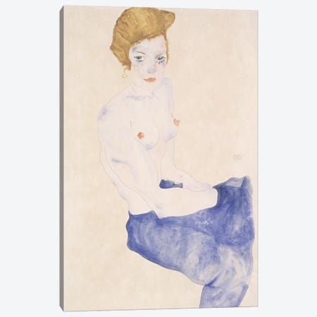 Seated blue nude, 1911  Canvas Print #BMN10180} by Egon Schiele Canvas Wall Art
