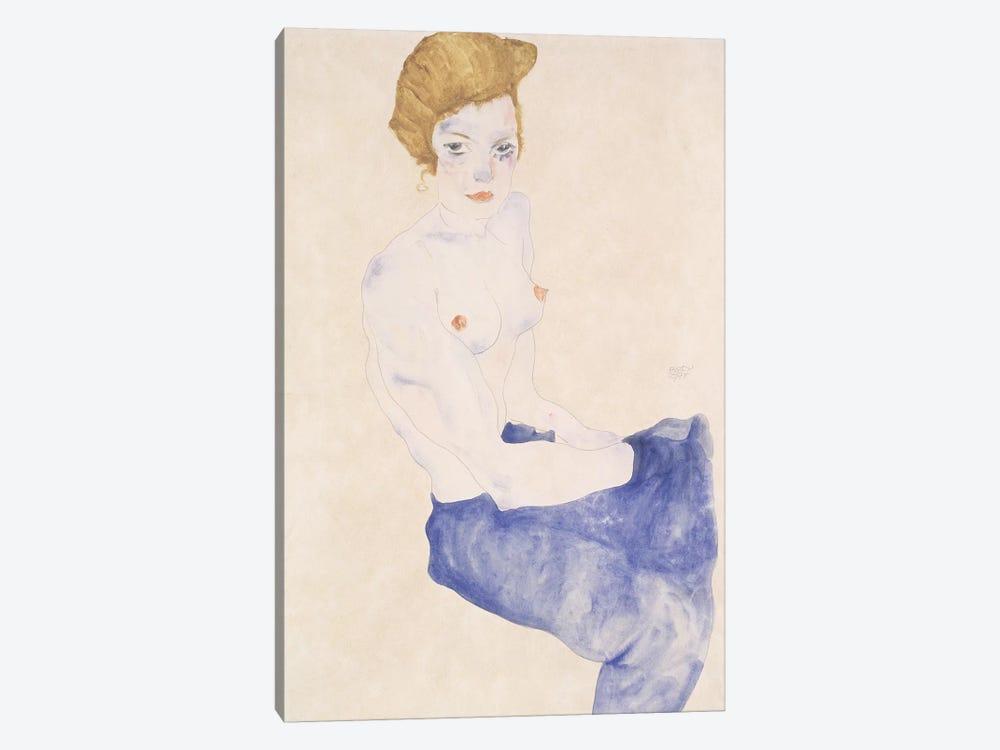 Seated blue nude, 1911  by Egon Schiele 1-piece Canvas Print