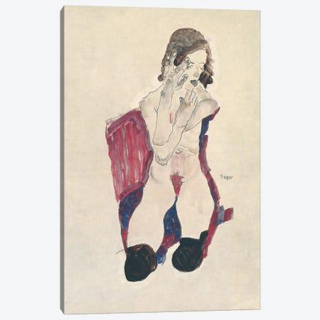 Seated Girl with Black Stockings and Folded Hands; Sitzendes Madchen mit schwarzen Strumpfen und vorgehaltenen Handen, 1911  Canvas Print #BMN10181} by Egon Schiele Canvas Artwork