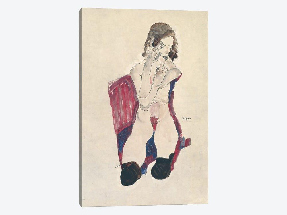 Seated Girl with Black Stockings and Folded Hands; Sitzendes Madchen mit schwarzen Strumpfen und vorgehaltenen Handen, 1911  by Egon Schiele 1-piece Canvas Wall Art